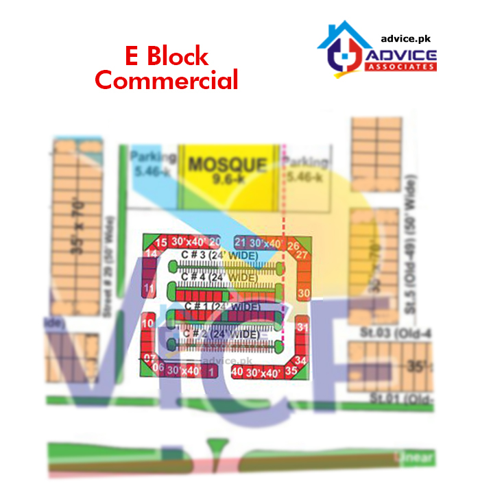Bahria Phase 8 E Commercial Map