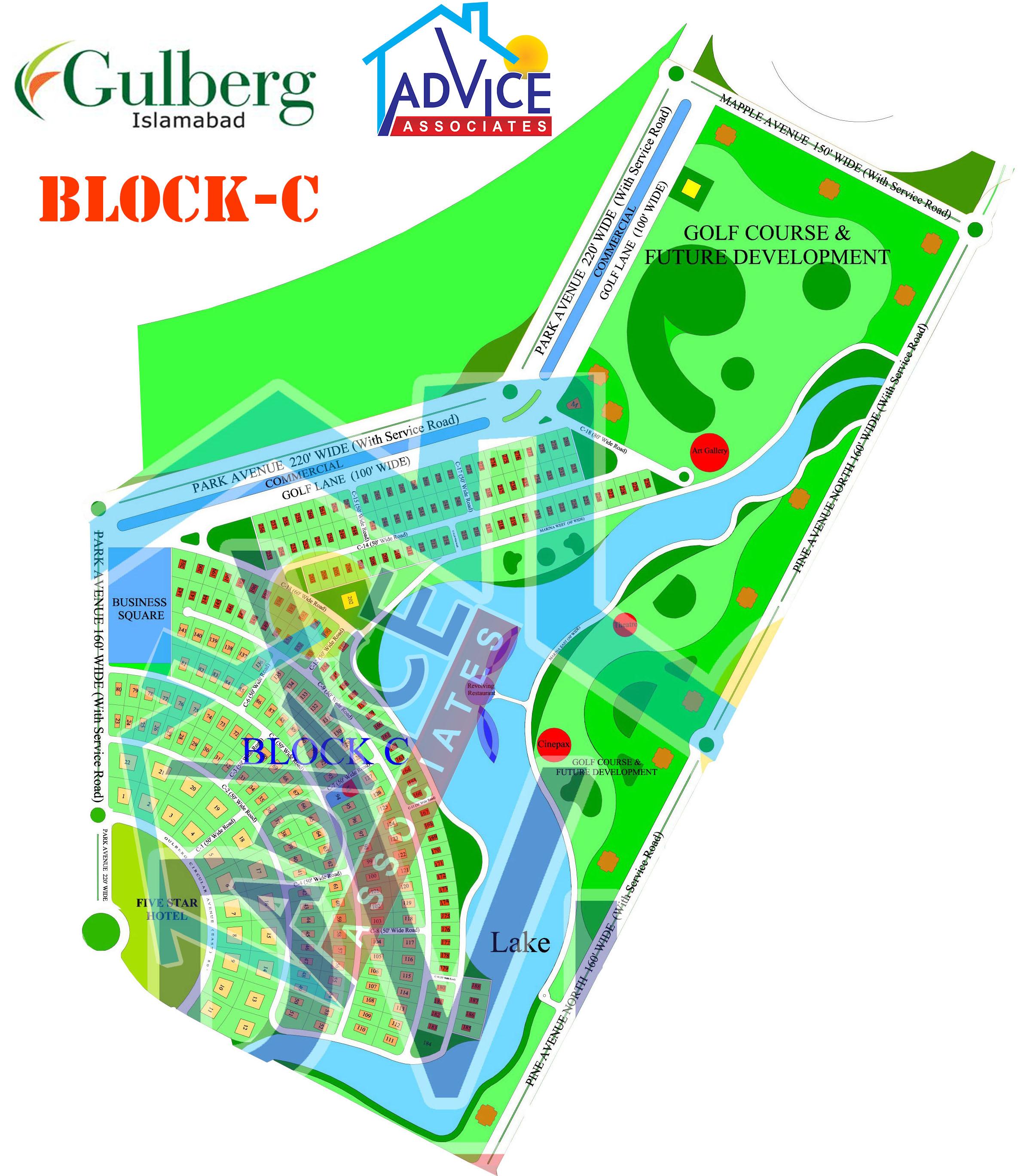 Gulberg greens Farm Houses C Block Map