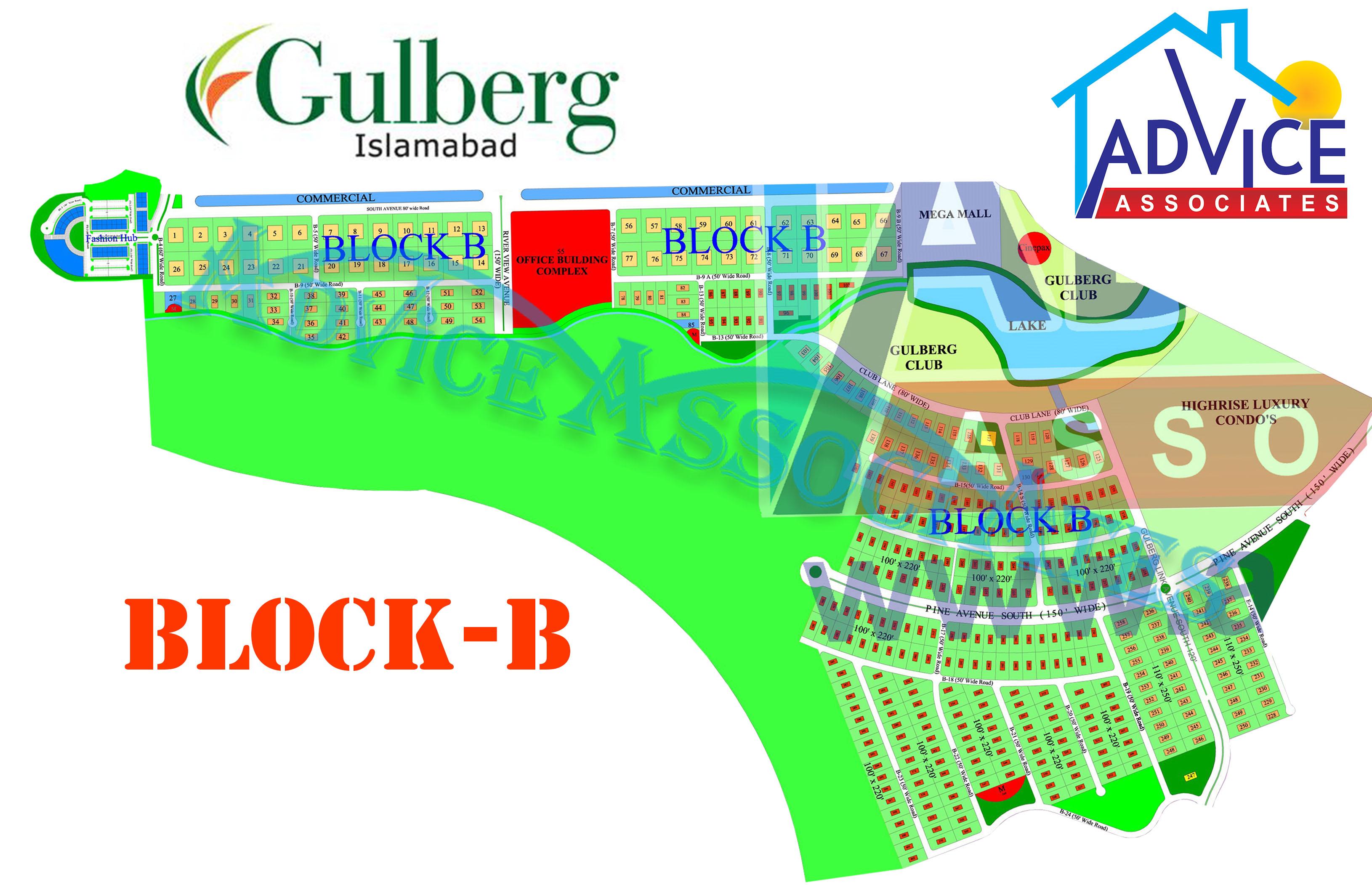 Gulberg greens Farm Houses B Block Map