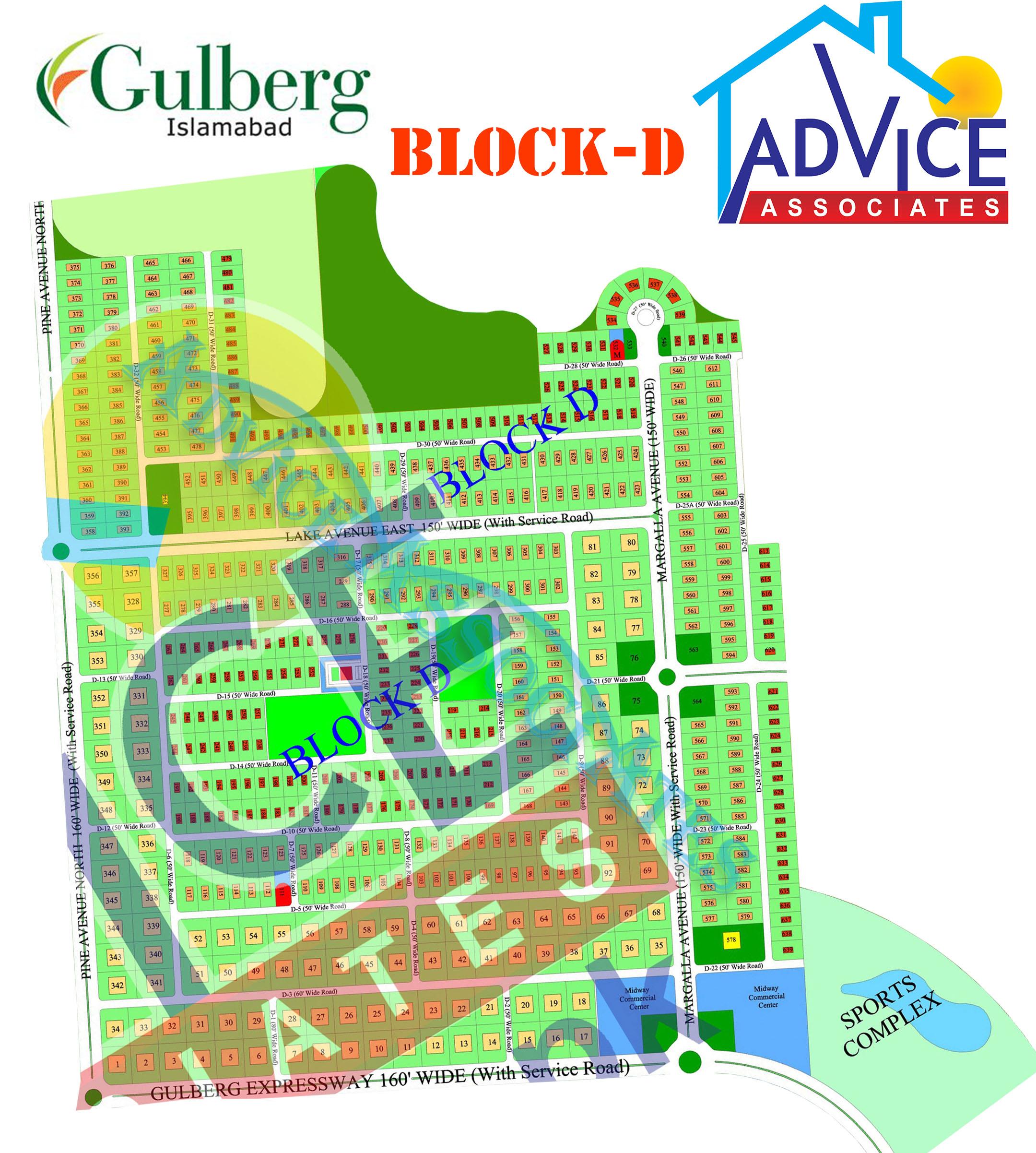 Gulberg greens Farm Houses D Block Map